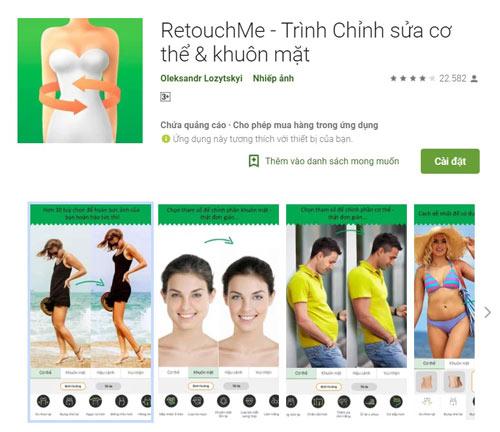 Phần mềm nâng ngực RetouchMe